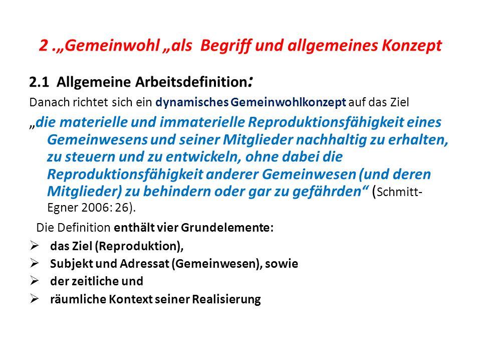 """2 .""""Gemeinwohl """"als Begriff und allgemeines Konzept"""