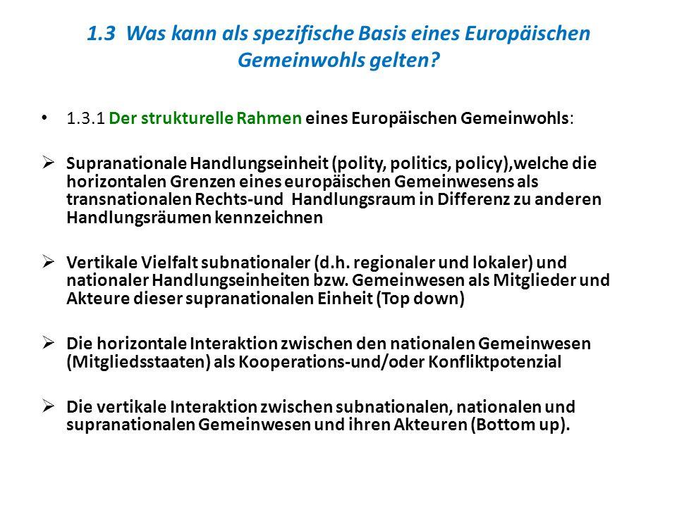1.3.1 Der strukturelle Rahmen eines Europäischen Gemeinwohls: