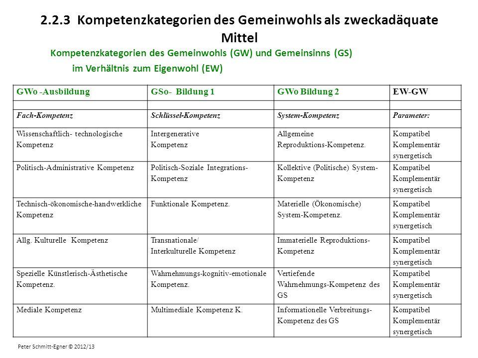 2.2.3 Kompetenzkategorien des Gemeinwohls als zweckadäquate Mittel