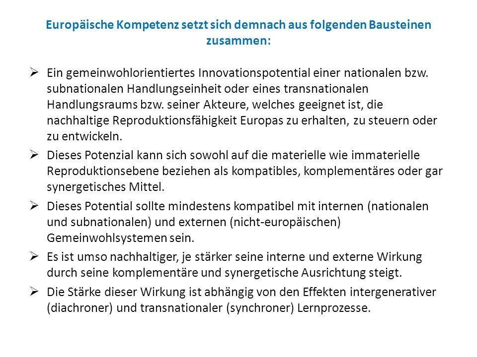 Europäische Kompetenz setzt sich demnach aus folgenden Bausteinen zusammen: