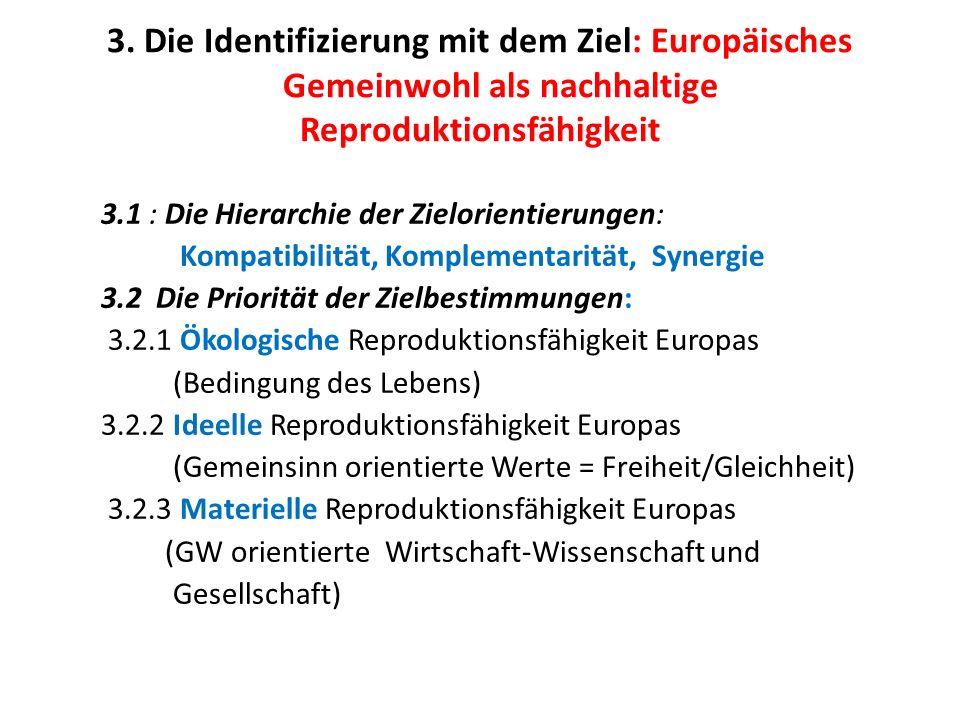 3. Die Identifizierung mit dem Ziel: Europäisches Gemeinwohl als nachhaltige Reproduktionsfähigkeit