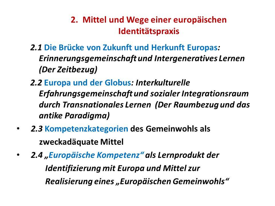 2. Mittel und Wege einer europäischen Identitätspraxis