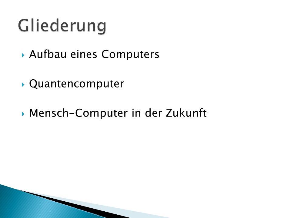 Gliederung Aufbau eines Computers Quantencomputer