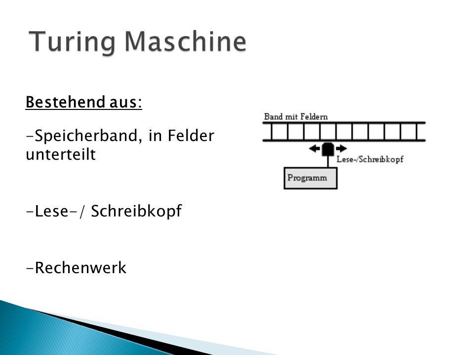 Turing Maschine Bestehend aus: Speicherband, in Felder unterteilt