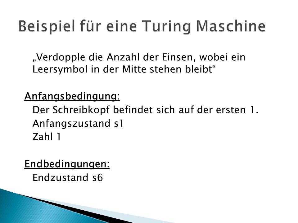Beispiel für eine Turing Maschine