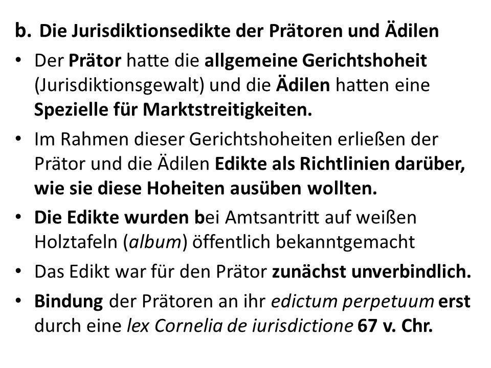 Die Jurisdiktionsedikte der Prätoren und Ädilen