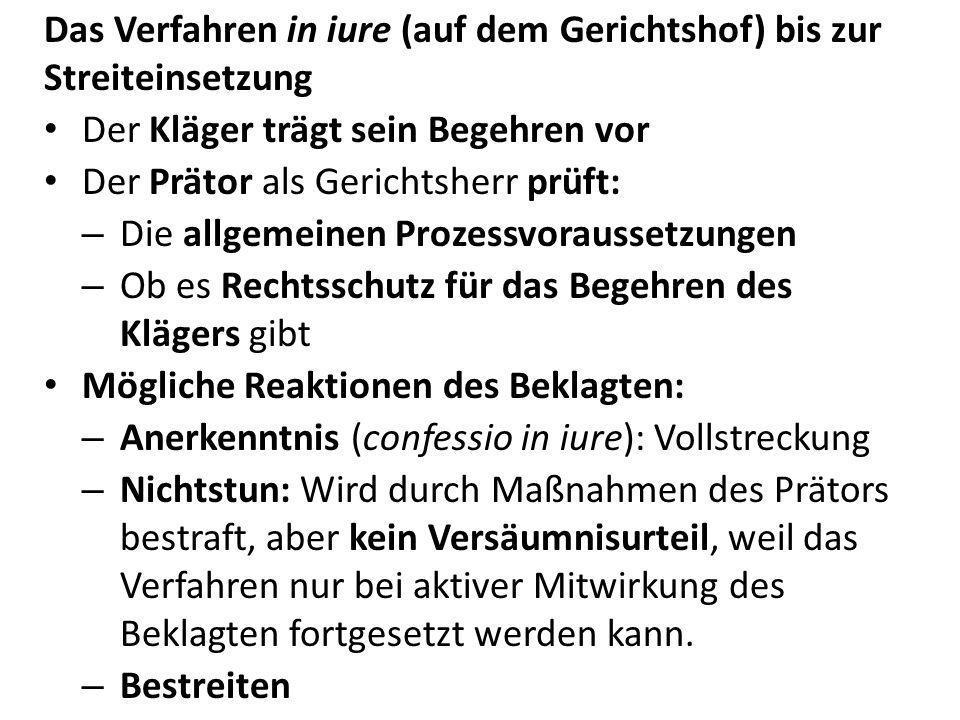 Das Verfahren in iure (auf dem Gerichtshof) bis zur Streiteinsetzung