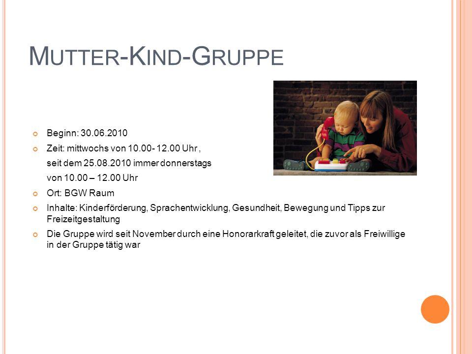 Mutter-Kind-Gruppe Beginn: 30.06.2010