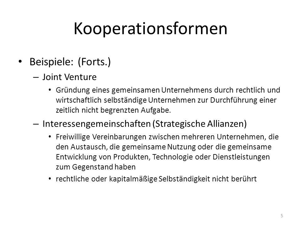 Kooperationsformen Beispiele: (Forts.) Joint Venture