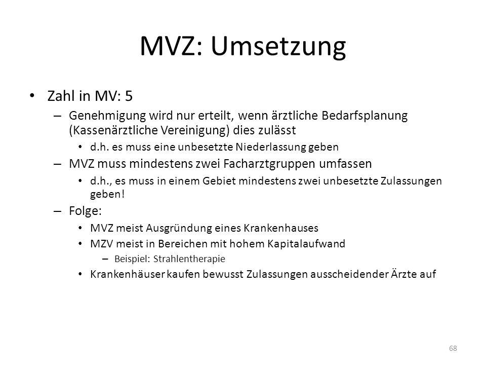 MVZ: Umsetzung Zahl in MV: 5