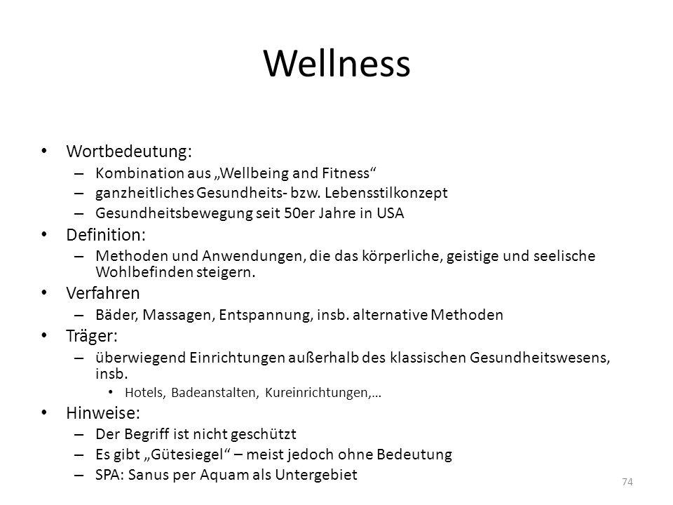 Wellness Wortbedeutung: Definition: Verfahren Träger: Hinweise:
