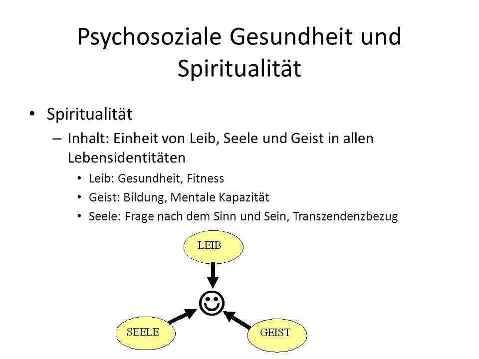 Psychosoziale Gesundheit und Spiritualität