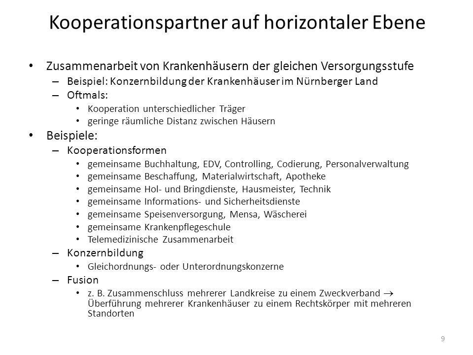 Kooperationspartner auf horizontaler Ebene