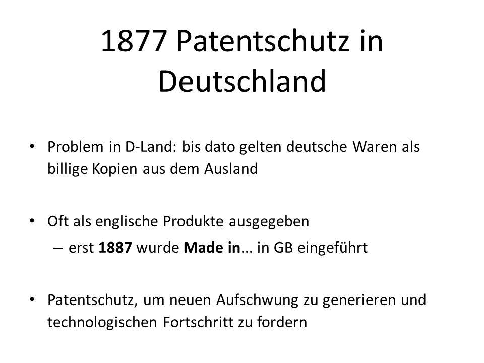 1877 Patentschutz in Deutschland