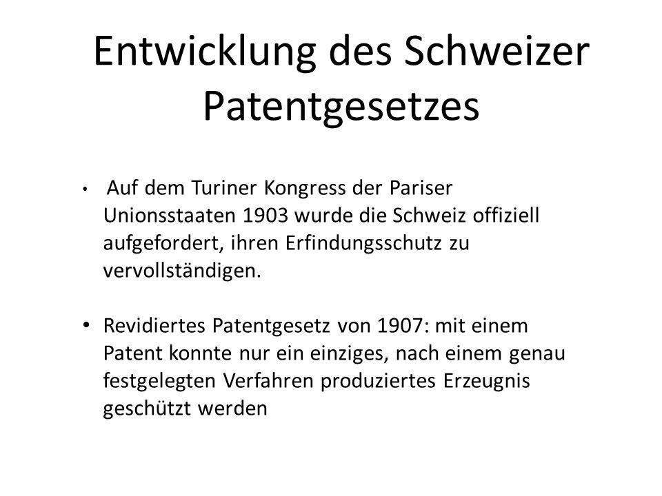 Entwicklung des Schweizer Patentgesetzes
