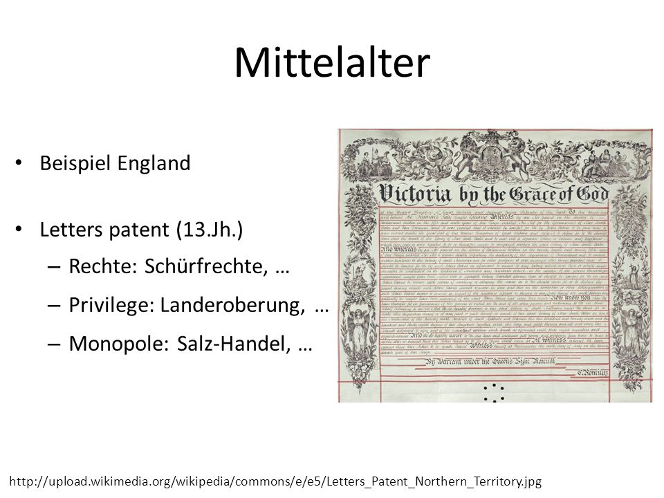 Mittelalter Beispiel England Letters patent (13.Jh.)