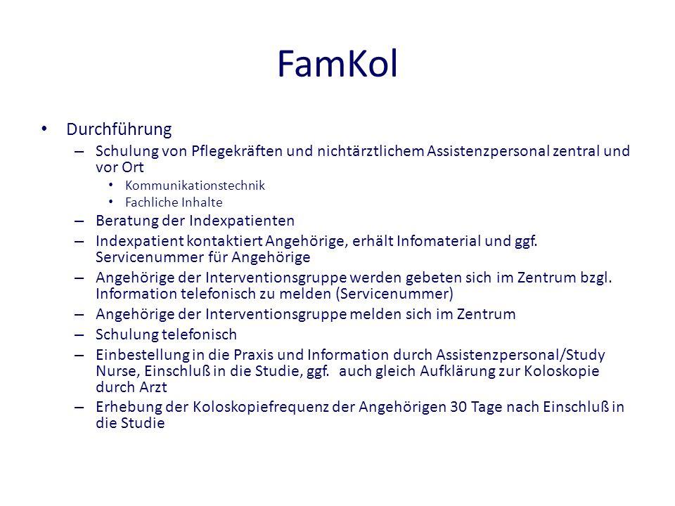 FamKol Durchführung. Schulung von Pflegekräften und nichtärztlichem Assistenzpersonal zentral und vor Ort.