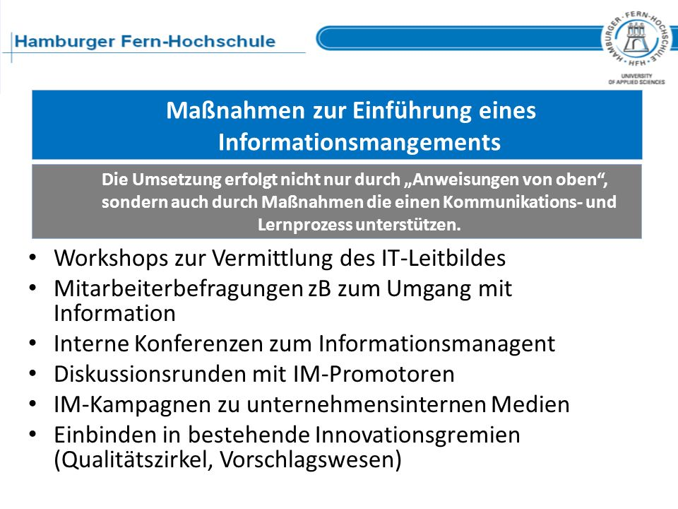 Maßnahmen zur Einführung eines Informationsmangements
