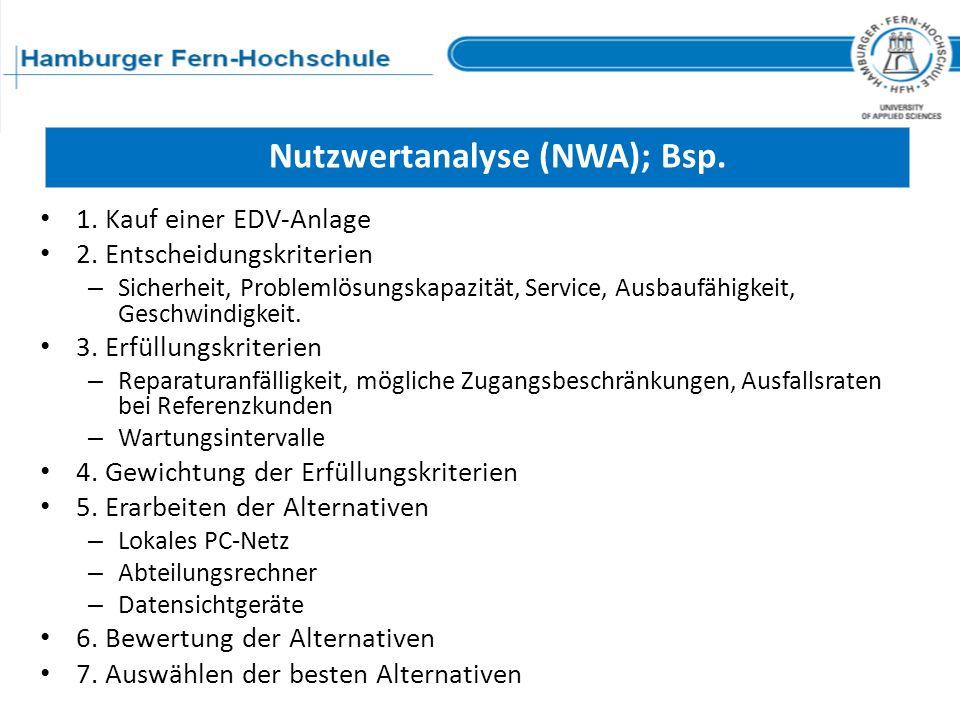 Nutzwertanalyse (NWA); Bsp.