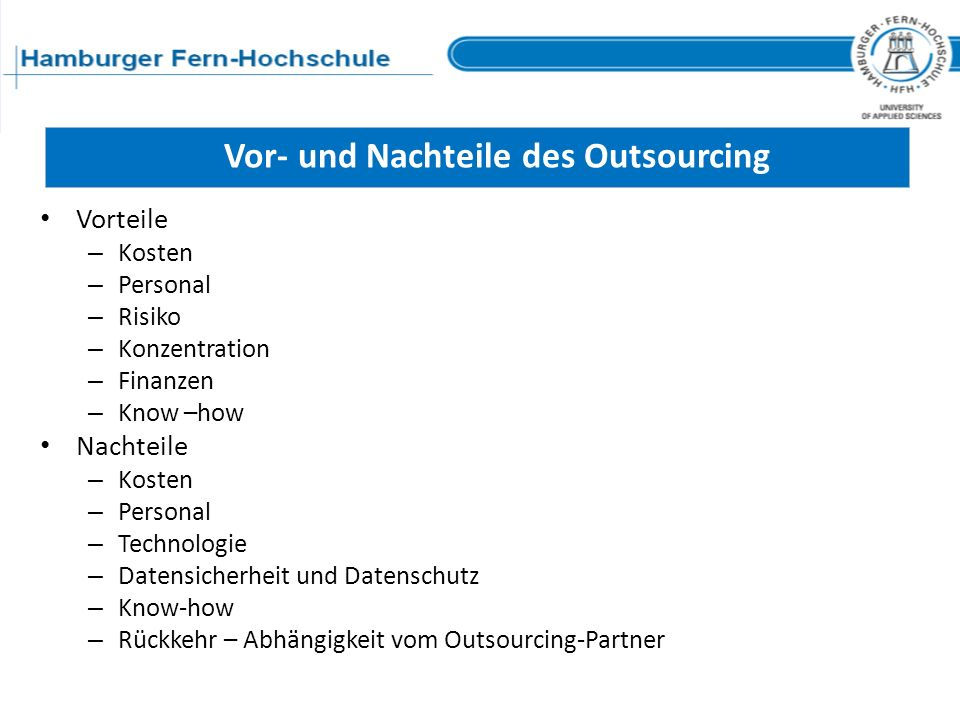 Vor- und Nachteile des Outsourcing