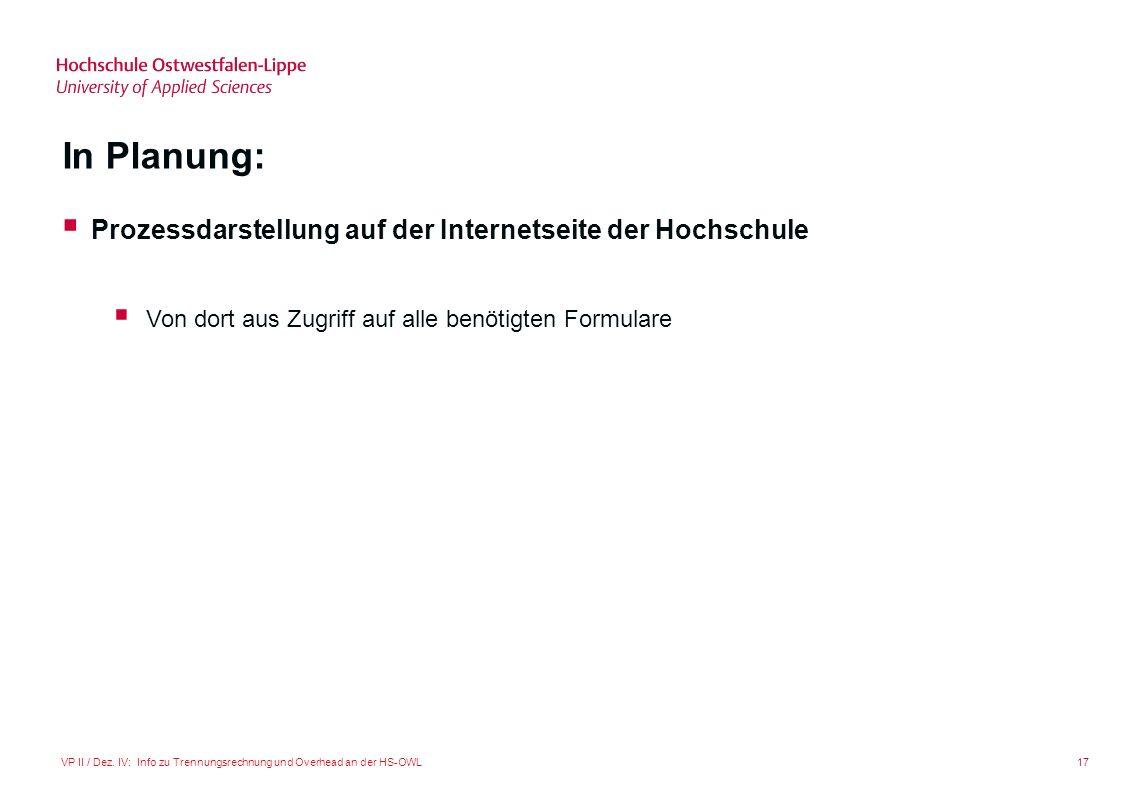 In Planung: Prozessdarstellung auf der Internetseite der Hochschule