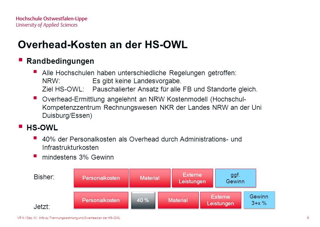 Overhead-Kosten an der HS-OWL