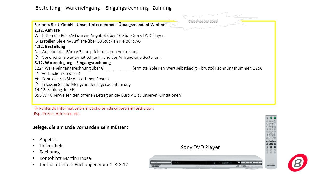 Bestellung – Wareneingang – Eingangsrechnung - Zahlung