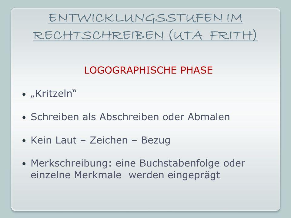 ENTWICKLUNGSSTUFEN IM RECHTSCHREIBEN (UTA FRITH)
