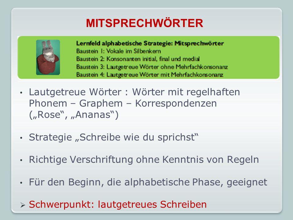 """MITSPRECHWÖRTER Lautgetreue Wörter : Wörter mit regelhaften Phonem – Graphem – Korrespondenzen. (""""Rose , """"Ananas )"""