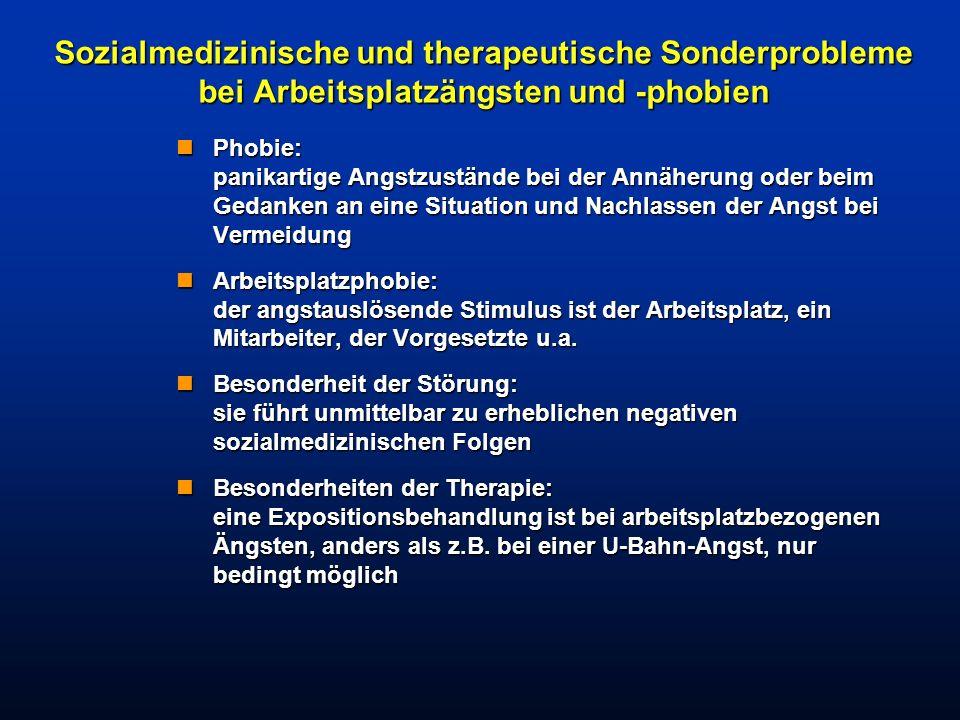 Sozialmedizinische und therapeutische Sonderprobleme bei Arbeitsplatzängsten und -phobien