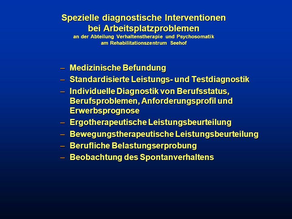 Spezielle diagnostische Interventionen bei Arbeitsplatzproblemen an der Abteilung Verhaltenstherapie und Psychosomatik am Rehabilitationszentrum Seehof