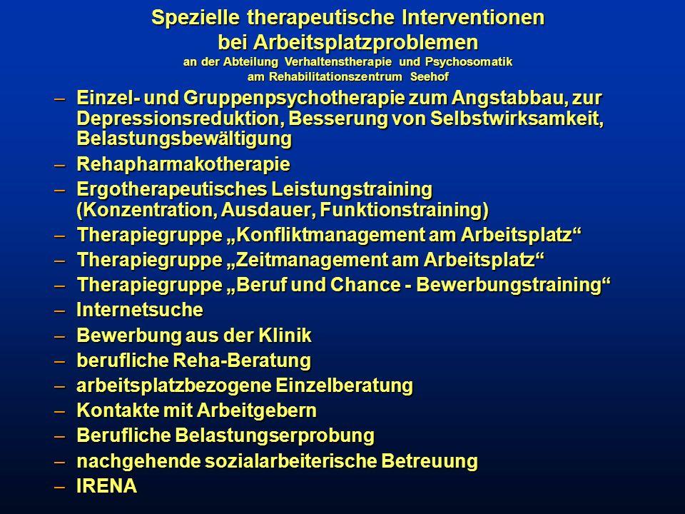 Spezielle therapeutische Interventionen bei Arbeitsplatzproblemen an der Abteilung Verhaltenstherapie und Psychosomatik am Rehabilitationszentrum Seehof