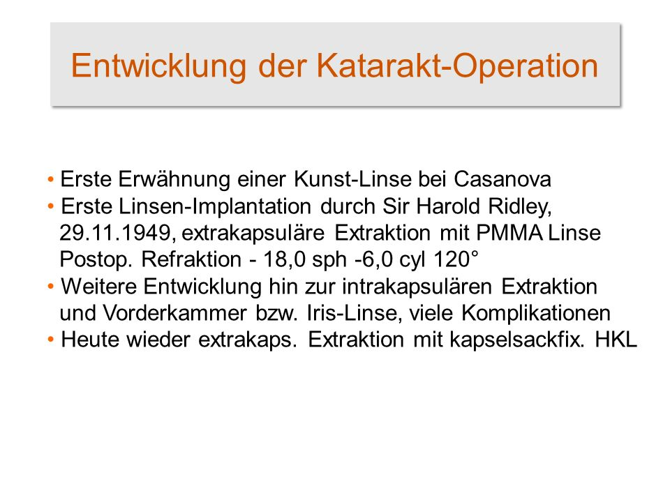 Entwicklung der Katarakt-Operation