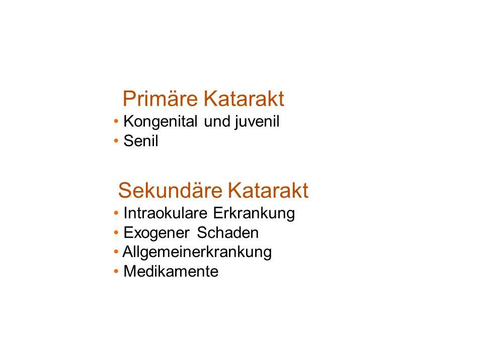 Primäre Katarakt Kongenital und juvenil. Senil. Sekundäre Katarakt. Intraokulare Erkrankung. Exogener Schaden.