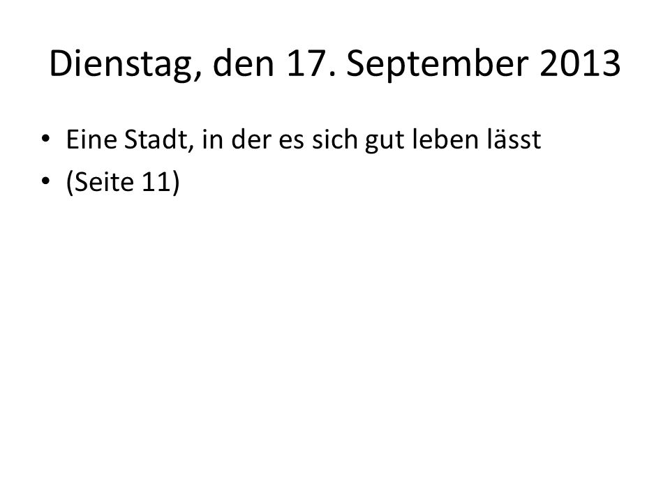 Dienstag, den 17. September 2013
