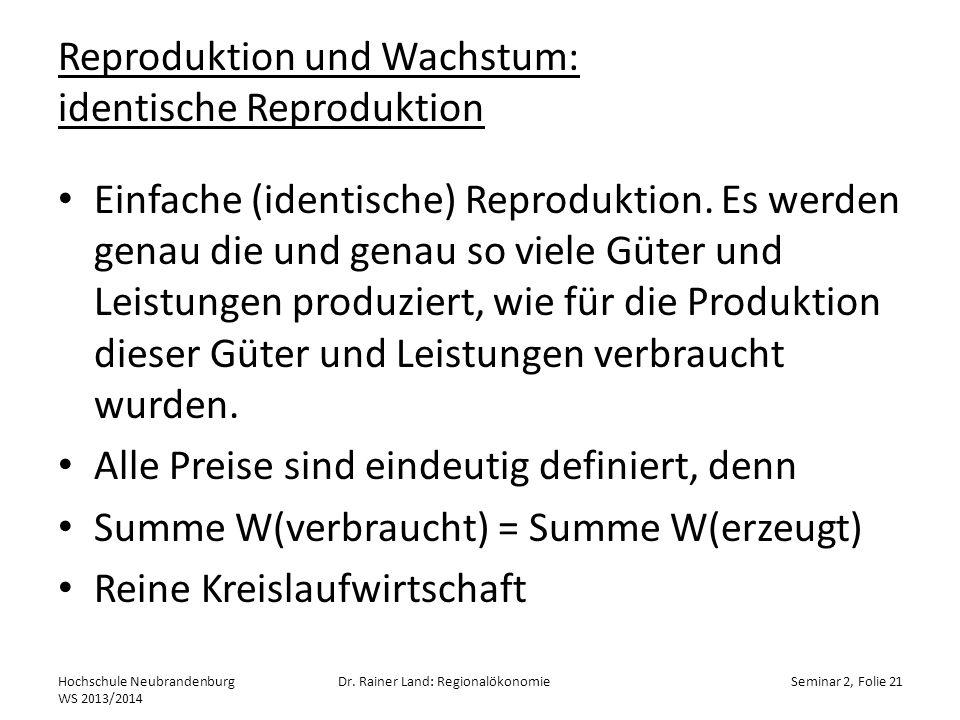 Reproduktion und Wachstum: identische Reproduktion