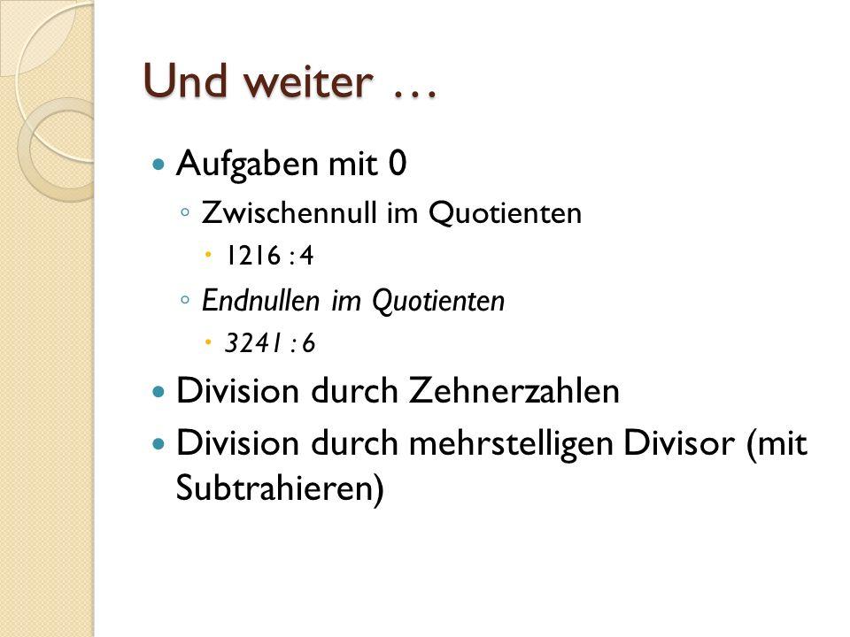 Und weiter … Aufgaben mit 0 Division durch Zehnerzahlen