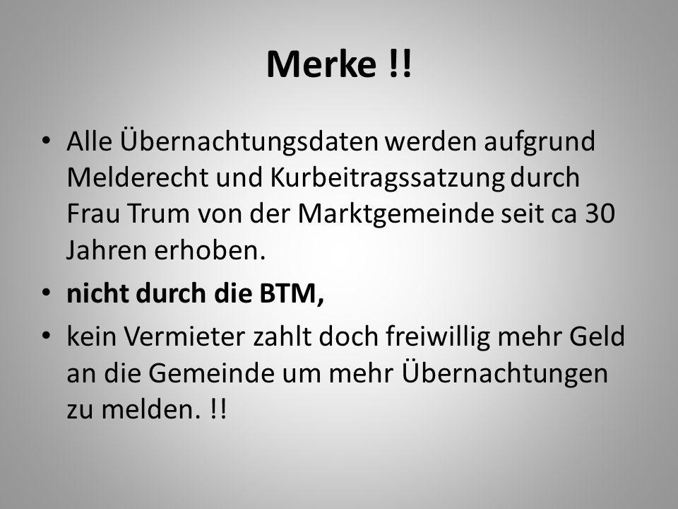 Merke !! Alle Übernachtungsdaten werden aufgrund Melderecht und Kurbeitragssatzung durch Frau Trum von der Marktgemeinde seit ca 30 Jahren erhoben.