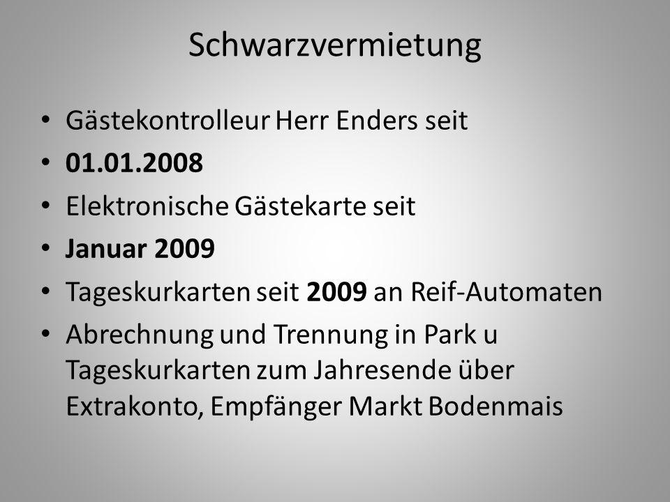 Schwarzvermietung Gästekontrolleur Herr Enders seit 01.01.2008