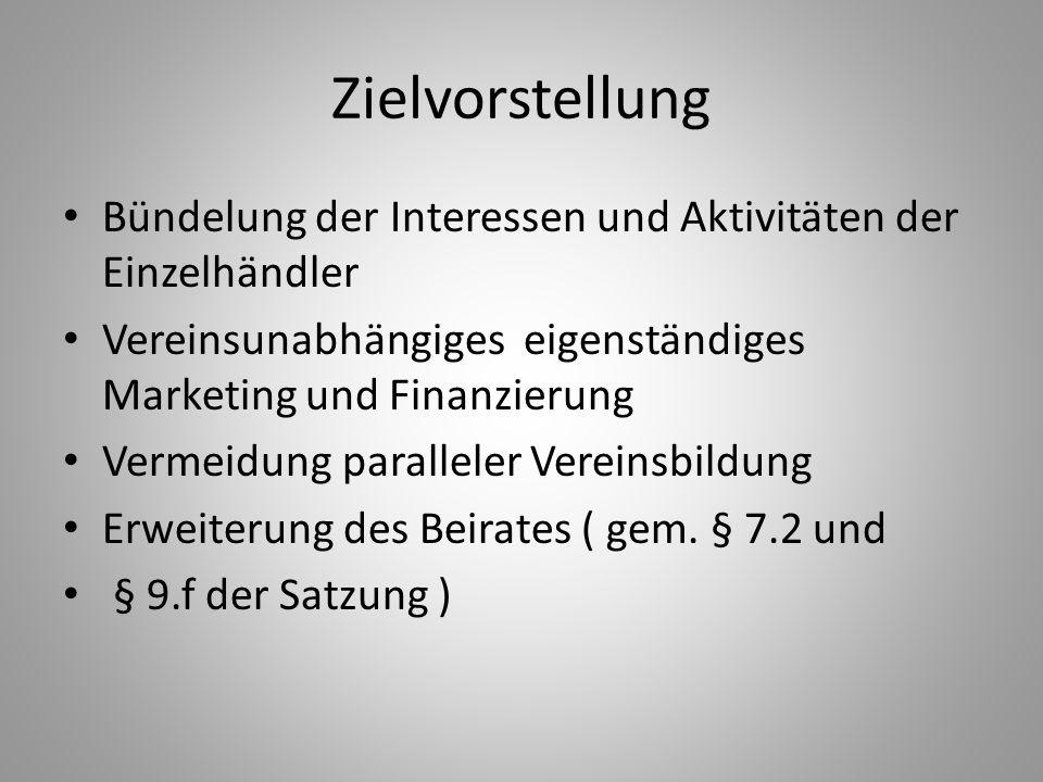 Zielvorstellung Bündelung der Interessen und Aktivitäten der Einzelhändler. Vereinsunabhängiges eigenständiges Marketing und Finanzierung.