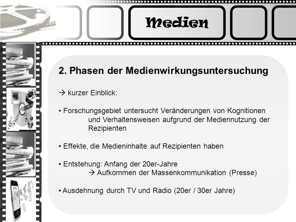 Medien 2. Phasen der Medienwirkungsuntersuchung  kurzer Einblick: