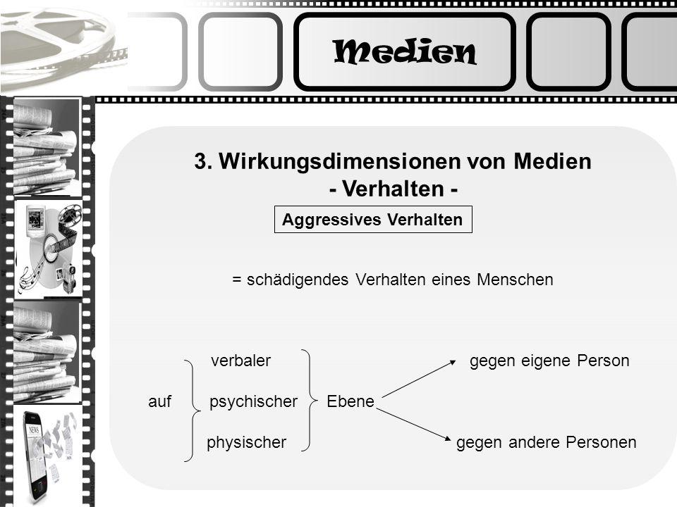 3. Wirkungsdimensionen von Medien - Verhalten - Aggressives Verhalten