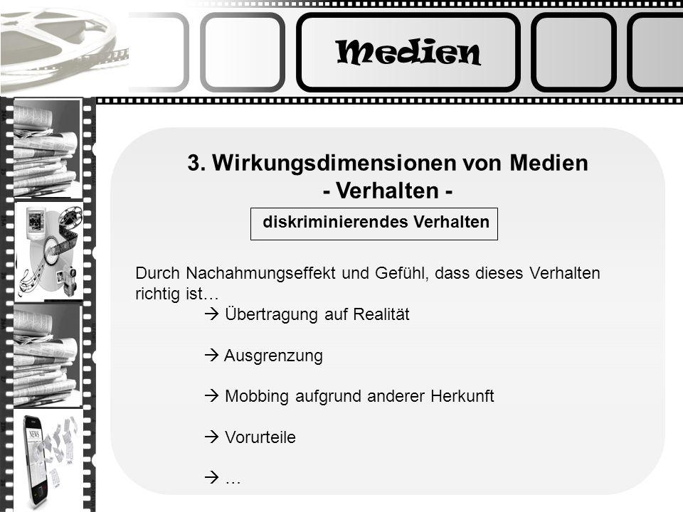 Medien 3. Wirkungsdimensionen von Medien - Verhalten -