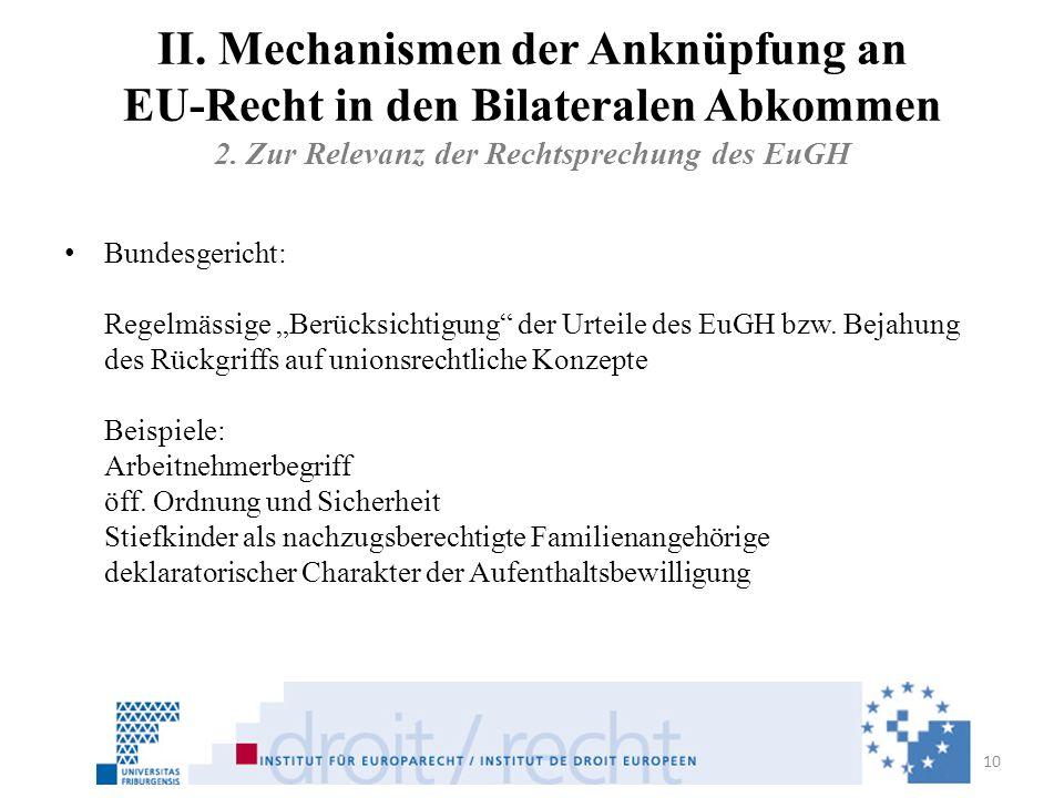 II. Mechanismen der Anknüpfung an EU-Recht in den Bilateralen Abkommen 2. Zur Relevanz der Rechtsprechung des EuGH
