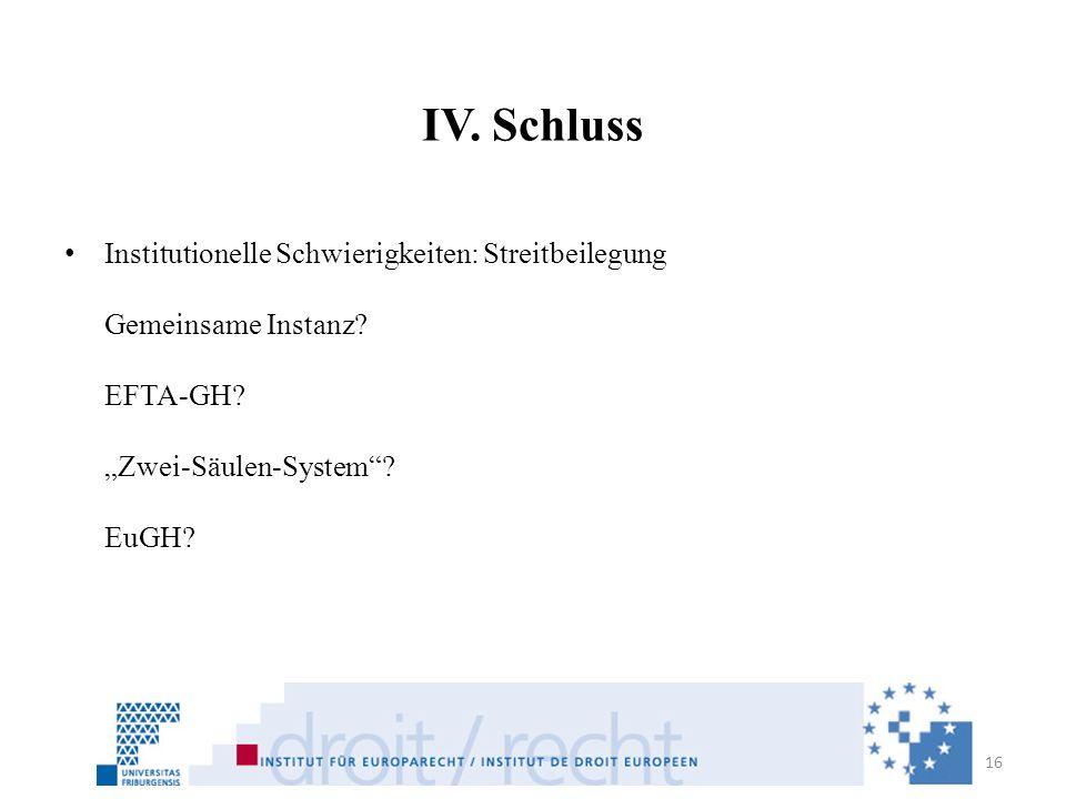 IV. Schluss Institutionelle Schwierigkeiten: Streitbeilegung Gemeinsame Instanz.