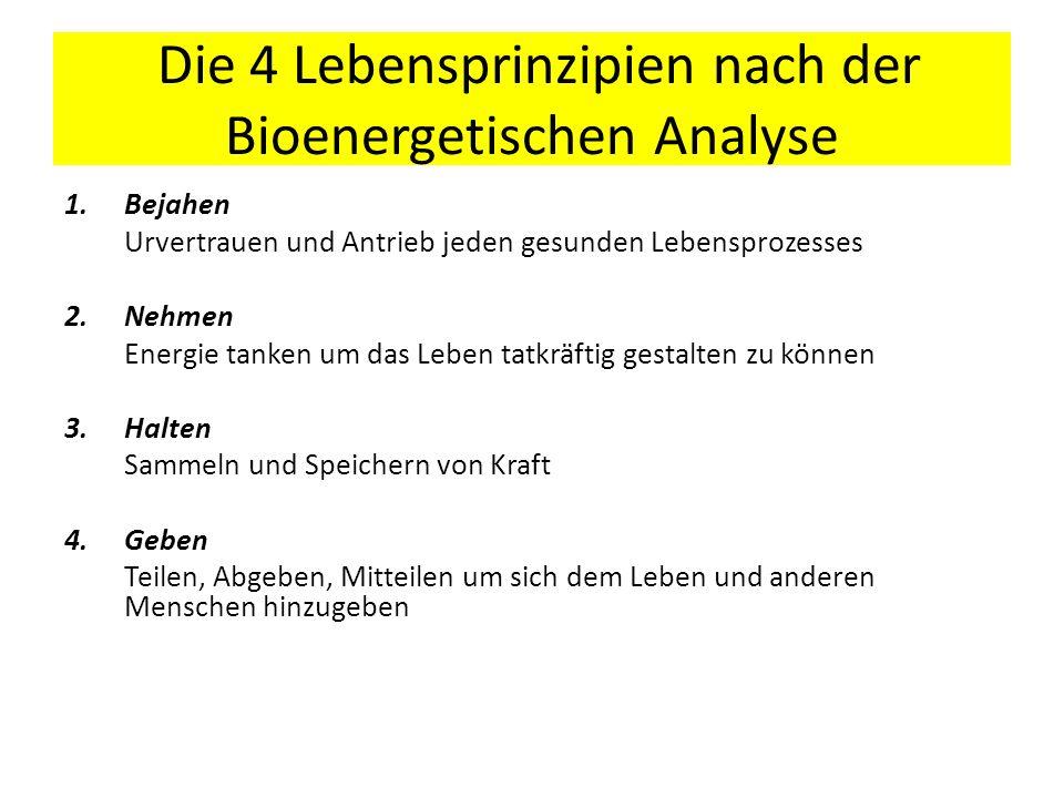 Die 4 Lebensprinzipien nach der Bioenergetischen Analyse