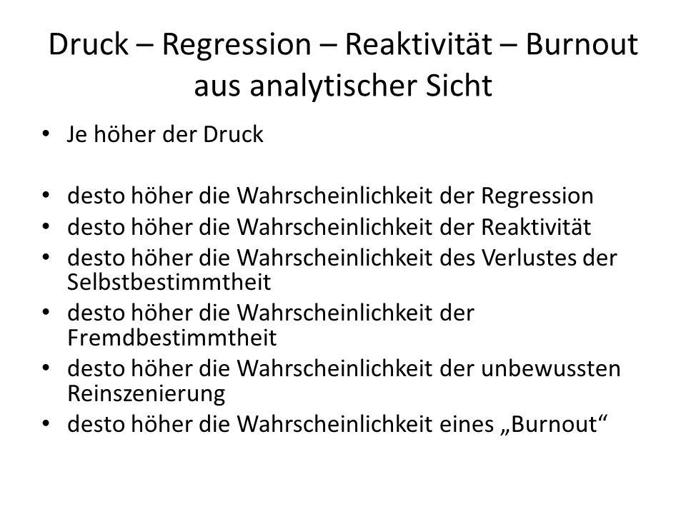 Druck – Regression – Reaktivität – Burnout aus analytischer Sicht