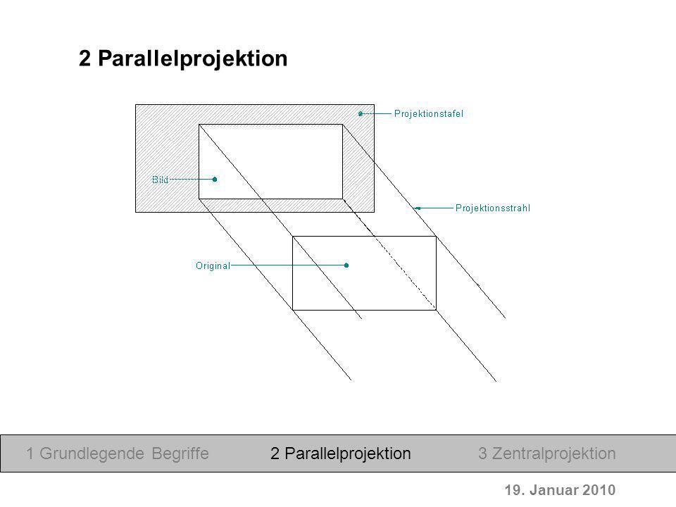 2 Parallelprojektion 1 Grundlegende Begriffe 2 Parallelprojektion