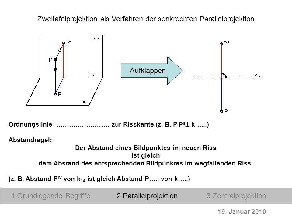 Zweitafelprojektion als Verfahren der senkrechten Parallelprojektion