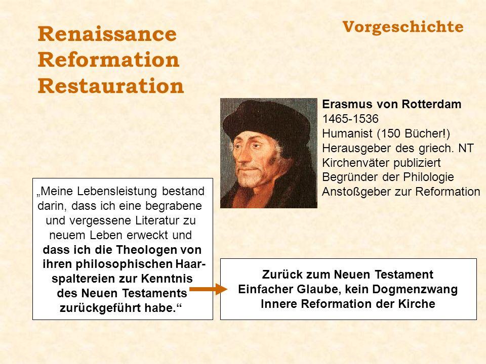Renaissance Reformation Restauration Vorgeschichte
